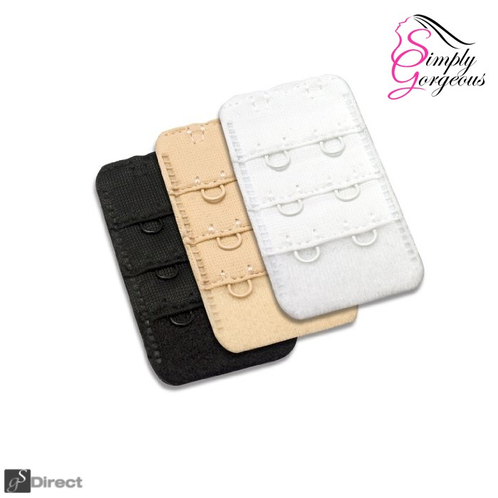 Pack Of 3 Bra Extenders - Black, White And Nude (2 Hook)