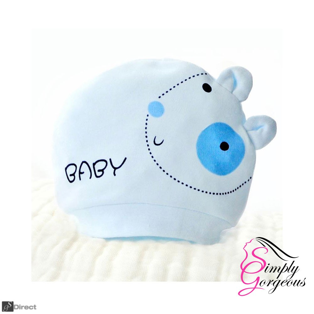 Cute Newborn - 6 Months Baby Infant Cotton Hat - Blue