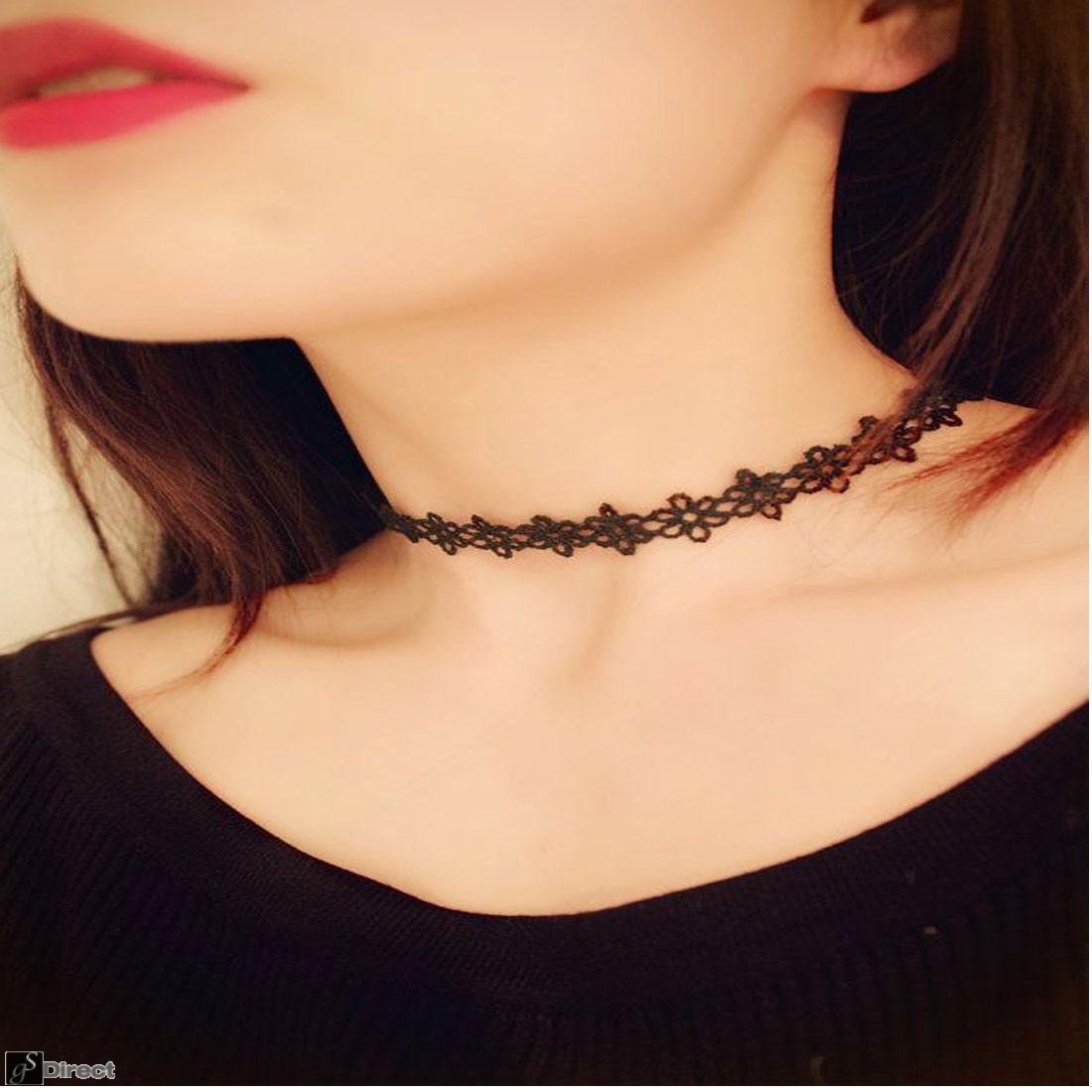 Vintage Retro Black Lace Daisy Flower Choker Necklace