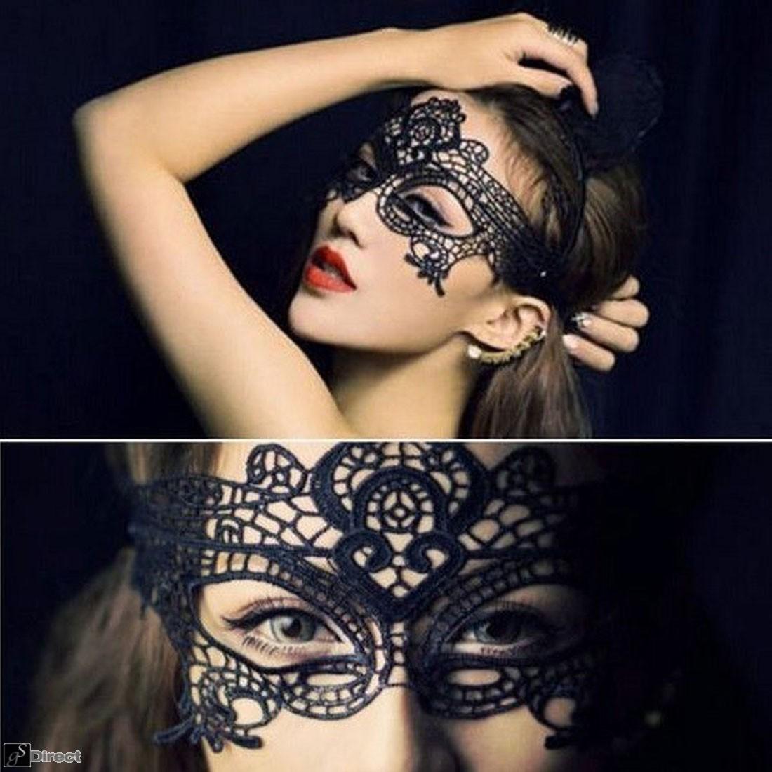 Black Lace Venetian Masquerade Eye Mask