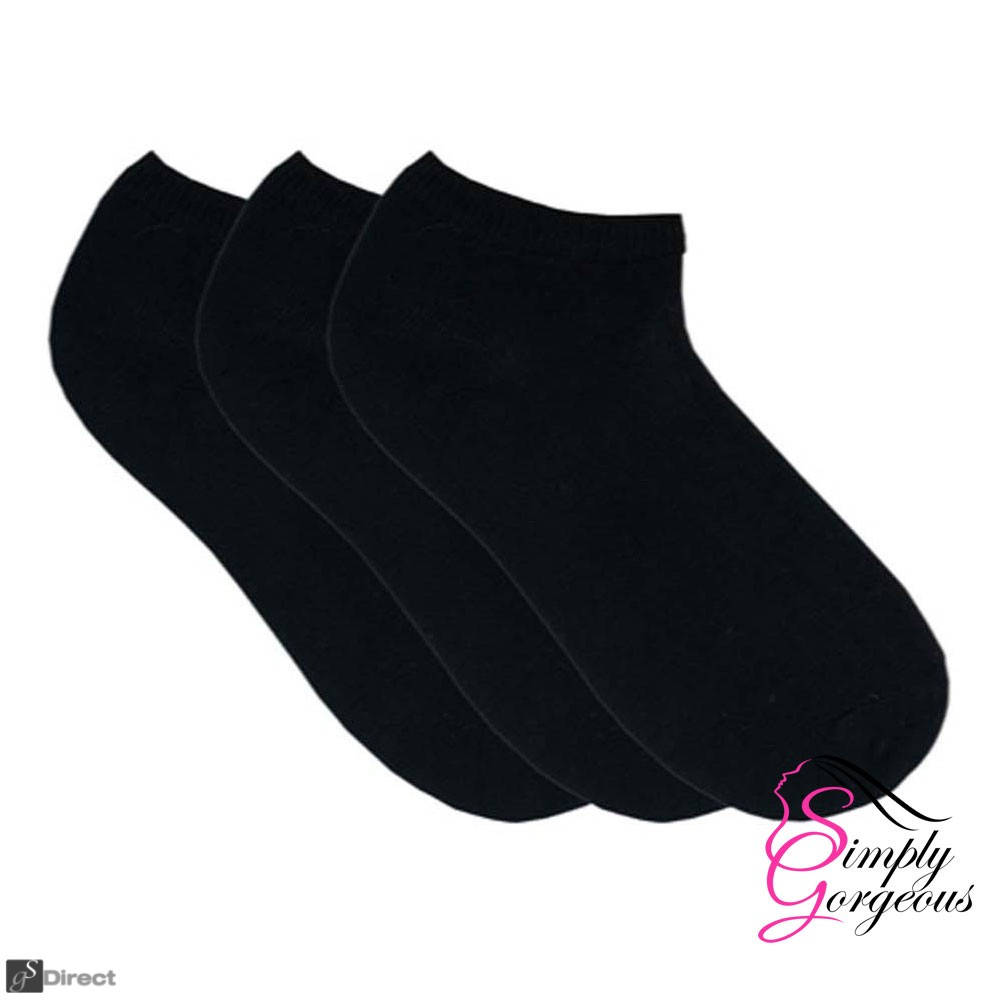 3 Pack Women Ladies Plain Cotton Blend Trainer Liner Socks - Black