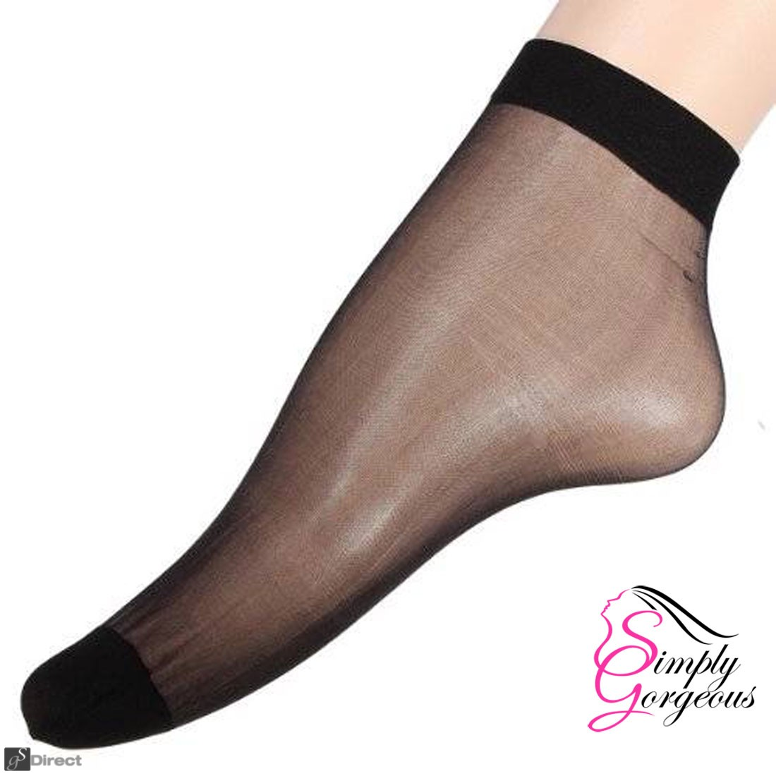 10 x Pairs Ladies 20 DENIER Sheer Ankle High Trouser Pop Socks UK SIZE 4-7 - Black