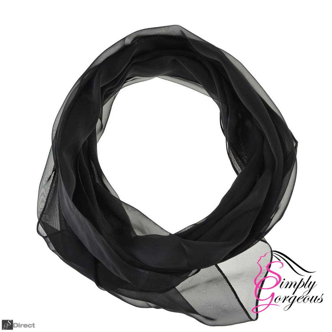 Classic Plain Chiffon Scarf Silk Feel Soft Neck lady Shawl Hijab Scarves - Black