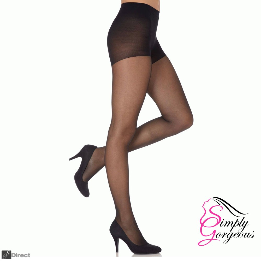 Ladies Sheer Tights 20 Denier Pantyhose - Black,  One Size (6-12)