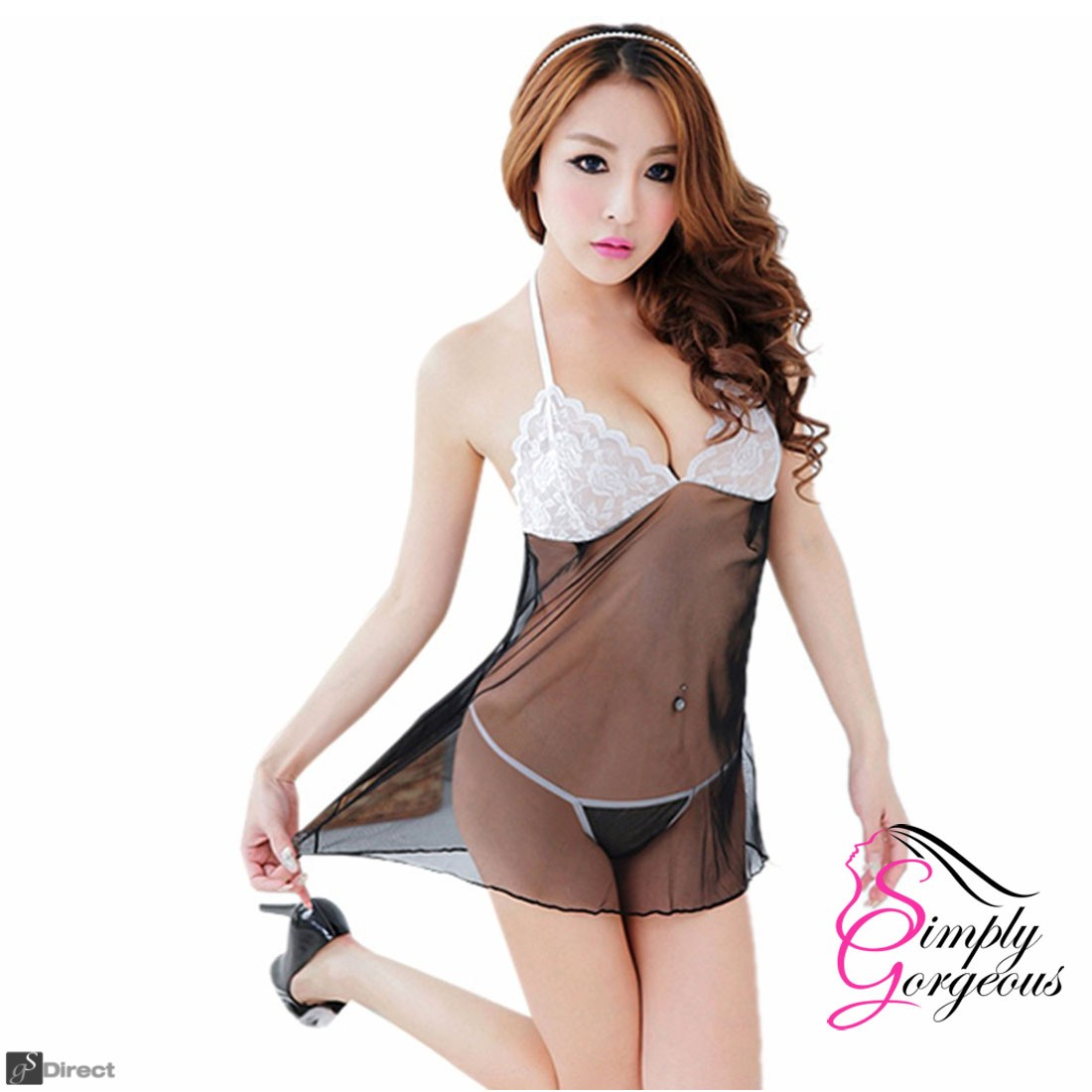 Sexy Lingerie Lace Dress Underwear Babydoll Sleepwear + G-string - Black