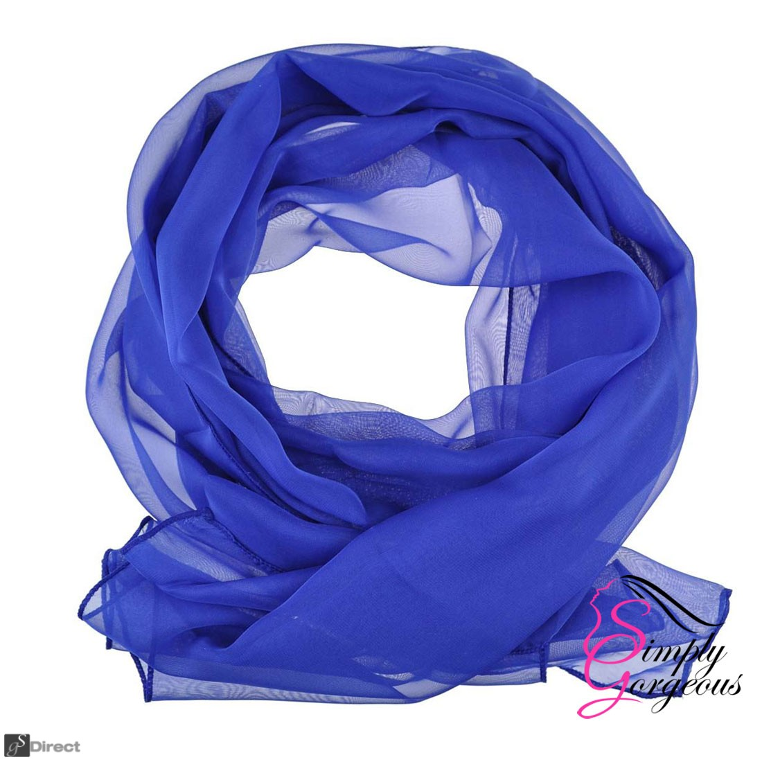 Classic Plain Chiffon Scarf Silk Feel Soft Neck lady Shawl Hijab Scarves - Blue