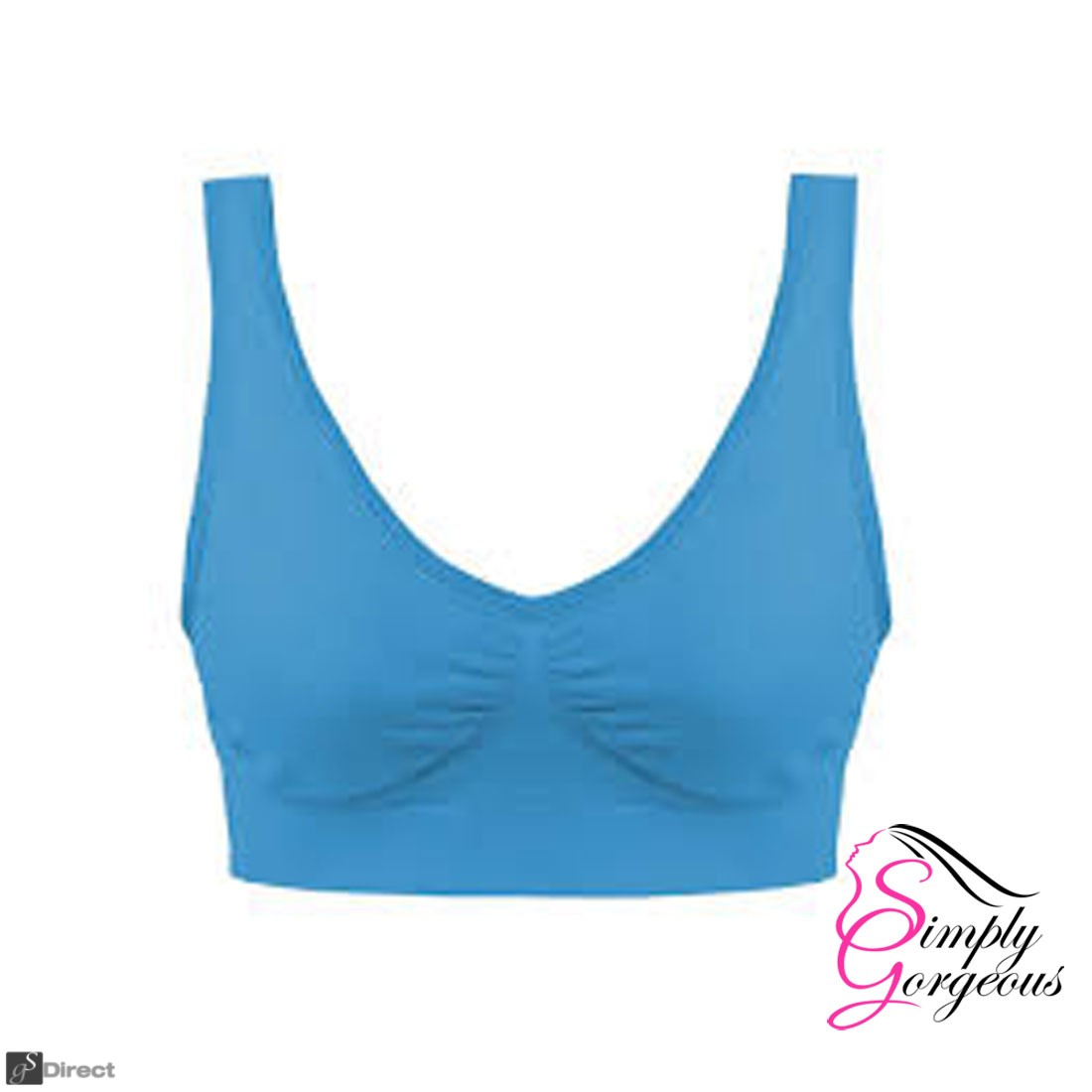 Simply Gorgeous Ultra Comfort Seamless Sport Style Bra - Blue - M