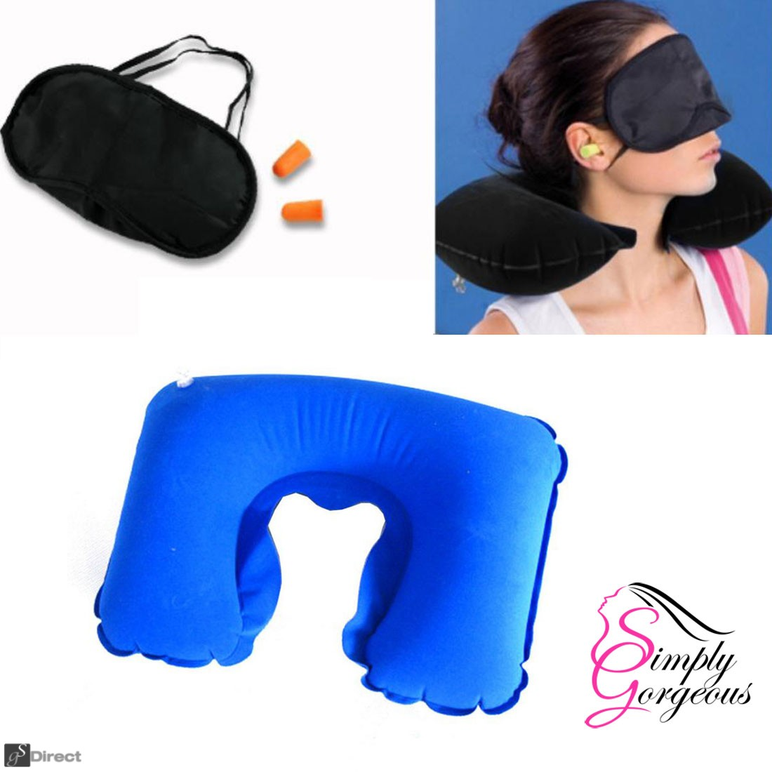 Inflatable Travel Neck Pillow Ear Plug & Sleep Mask Set - Navy