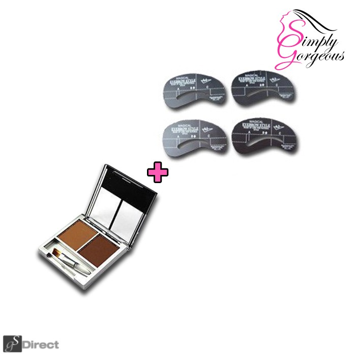 Simply Gorgeous Set Of 4 Eyebrow Shaping Stencils And Brow Fill Powder - Blonde Combo