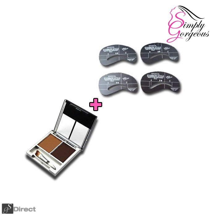 Simply Gorgeous Set Of 4 Eyebrow Shaping Stencils And Brow Fill Powder - Brunette Combo