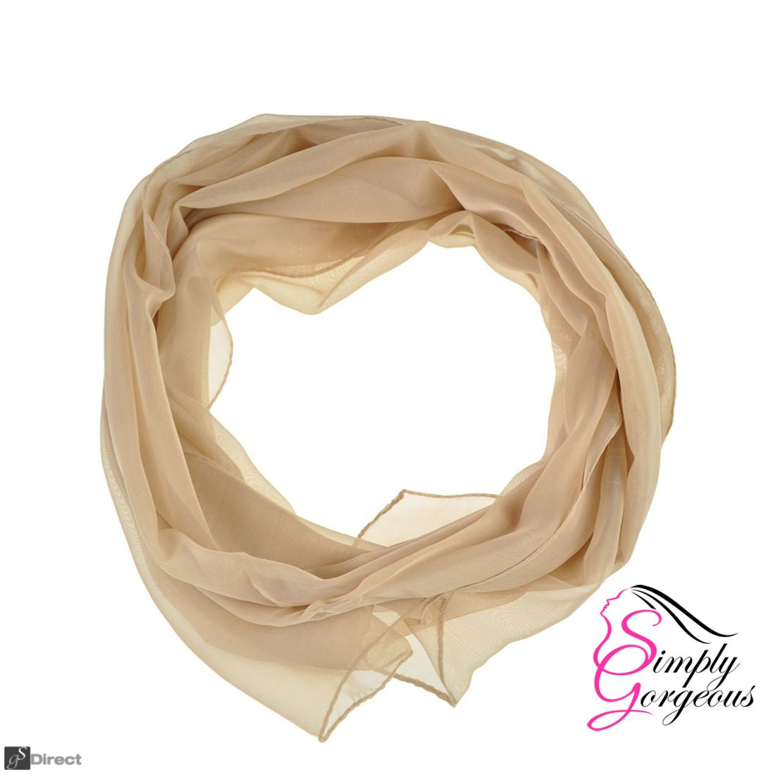 Classic Plain Chiffon Scarf Silk Feel Soft Neck lady Shawl Hijab Scarves - Cream
