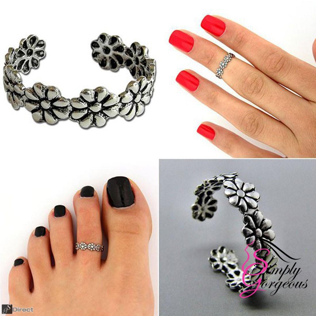925 Silver Adjustable Daisy Flower Toe Ring