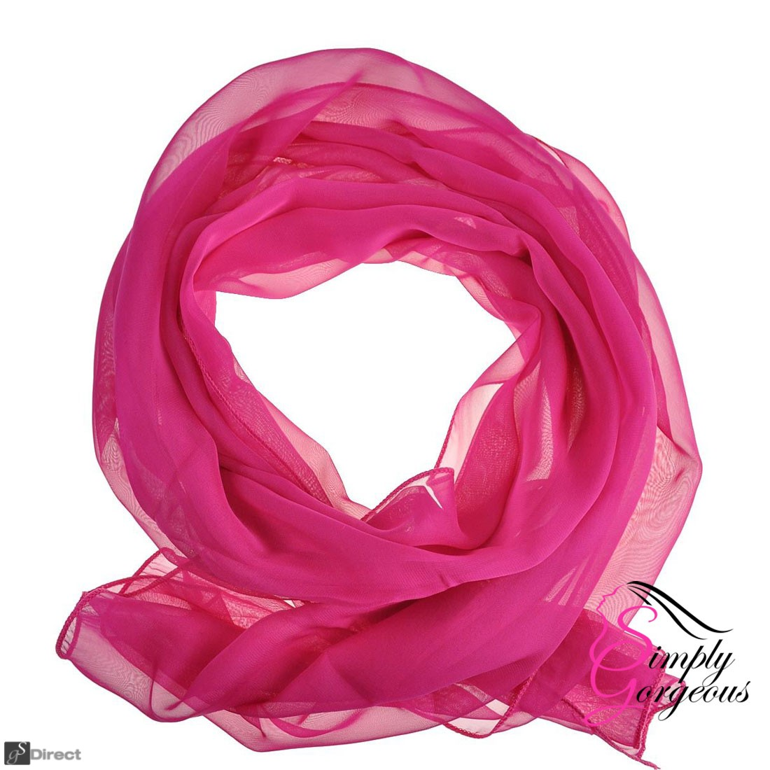 Classic Plain Chiffon Scarf Silk Feel Soft Neck lady Shawl Hijab Scarves - Fucshia