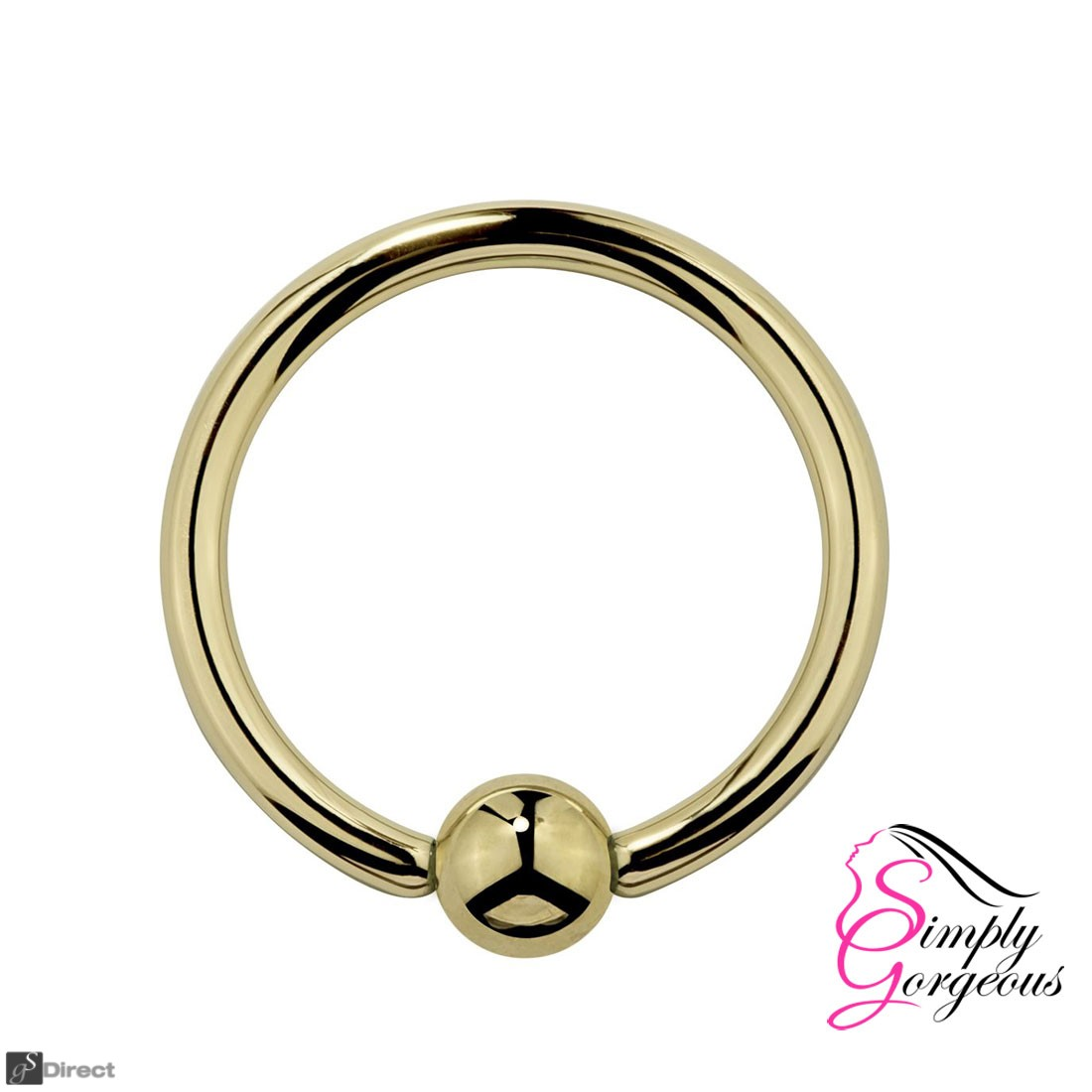 Surgical Steel Hoop Ring Piercing Ball Closure Lip Ear Nose Eyebrow - Gold