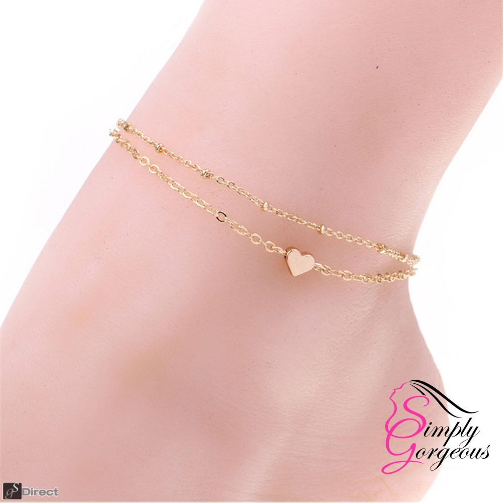 Gold Tone Heart Ankle Chain Double Layer Anklet