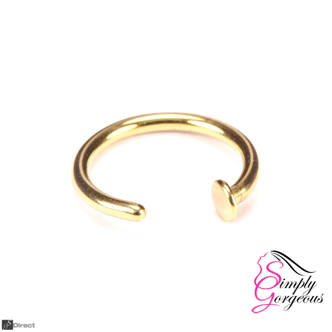 Surgical Steel Open Nose Ring Hoop - Gold