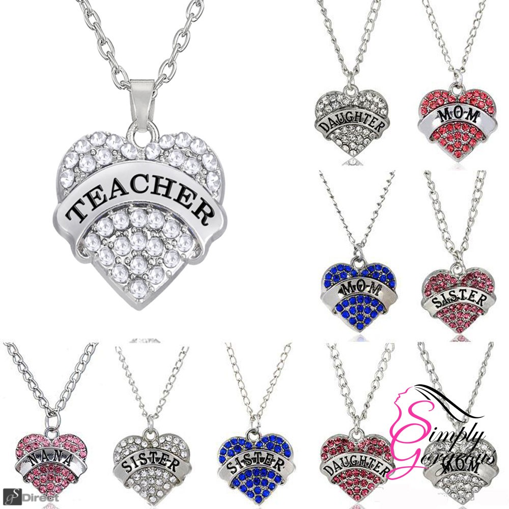 MOM Silver Diamante Heart Design Rhinestone Pendant Silver Plated Necklace - Pink