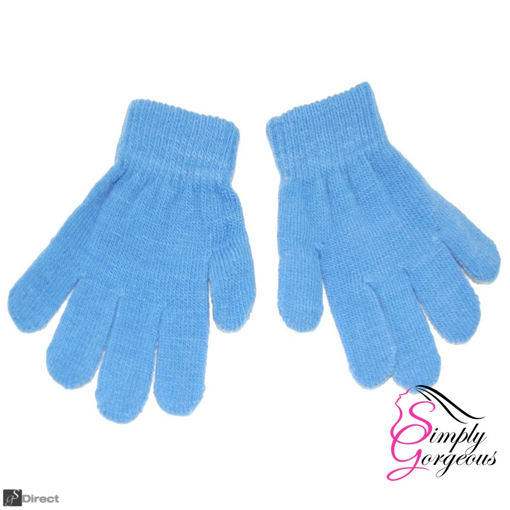 Childrens Winter Woolly Knitted Warm Magic Gloves - Light Blue