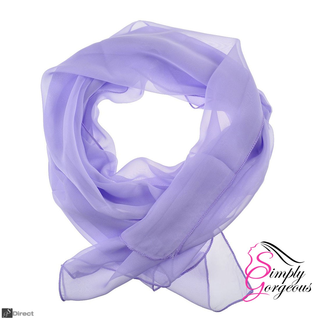 Classic Plain Chiffon Scarf Silk Feel Soft Neck lady Shawl Hijab Scarves - Lilac