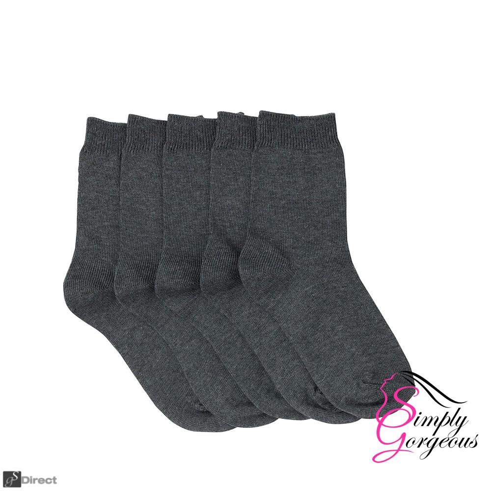 3 Pack Mens Plain Light Weight  Thin Cotton Blend Socks - Grey