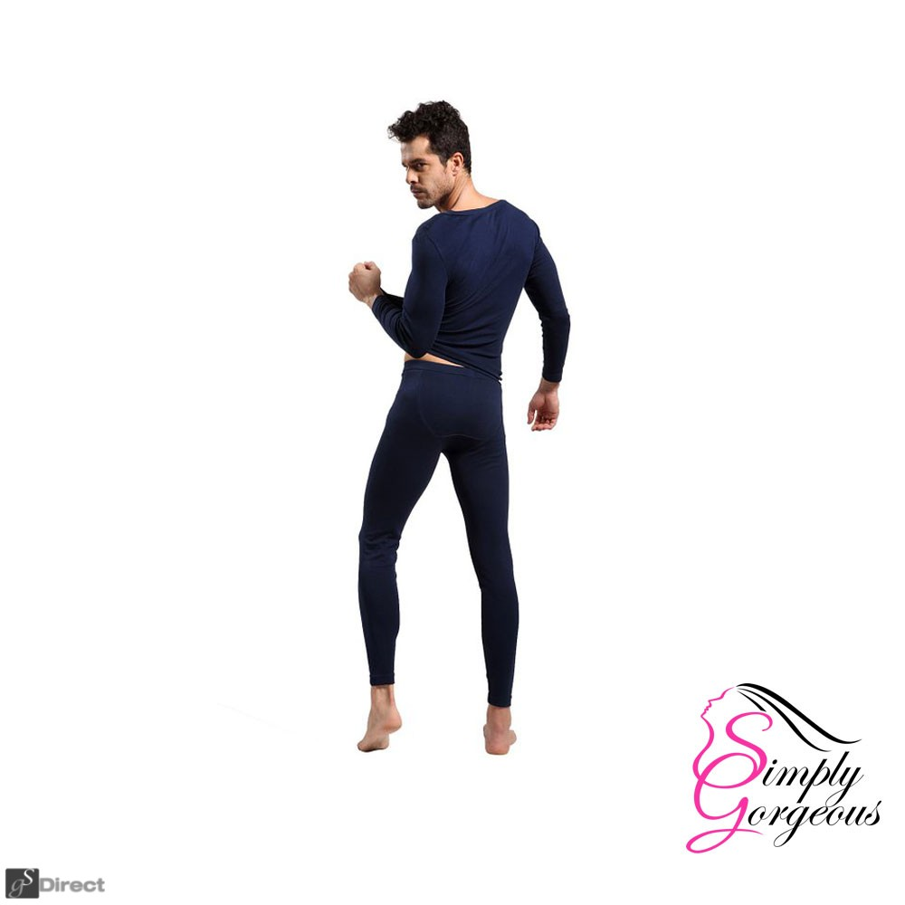 Mens 2 Piece Long Thermal Underwear Set Dark Blue  -  Size Large