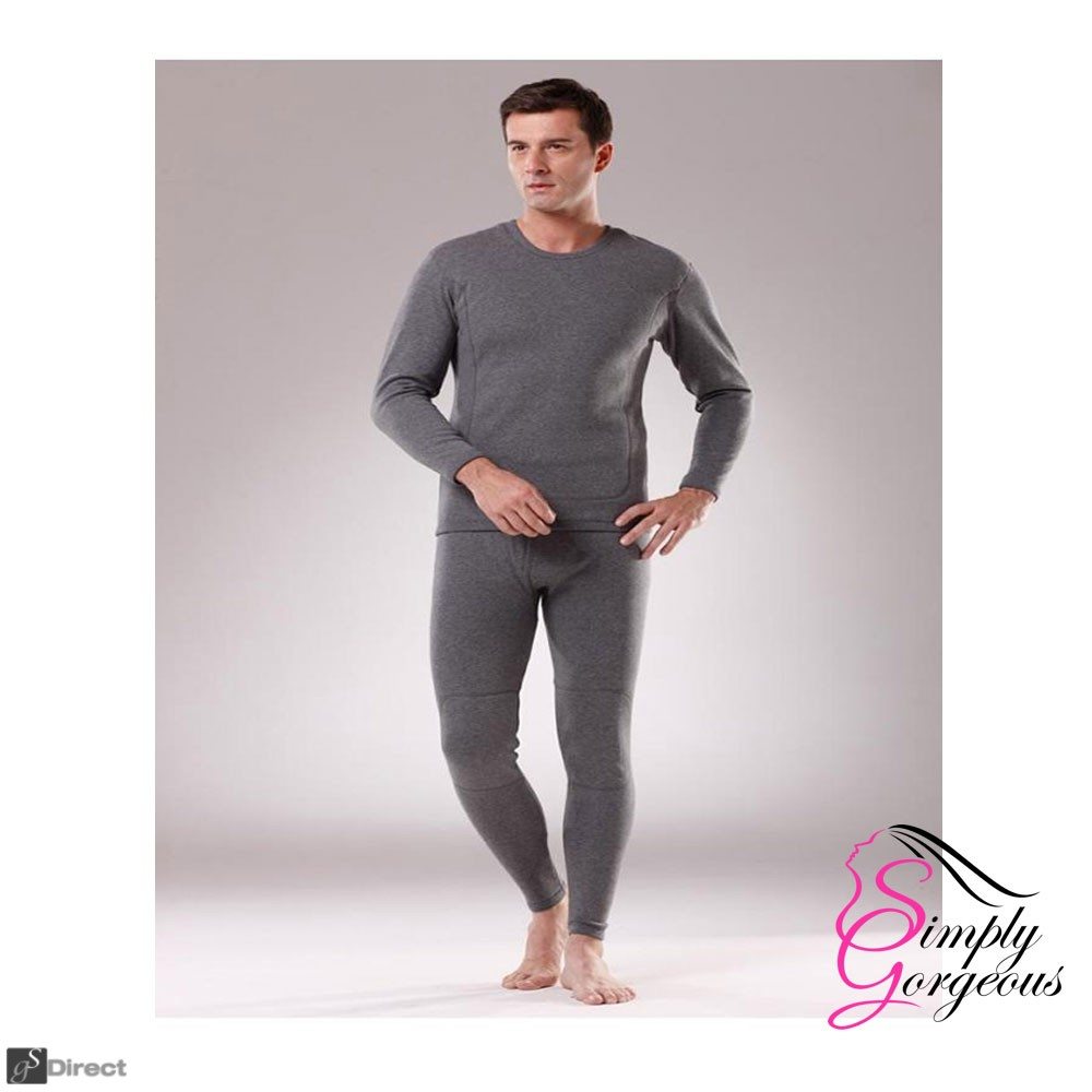 Mens 2 Piece Long Thermal Underwear Set Charcoal  -  Size X Large