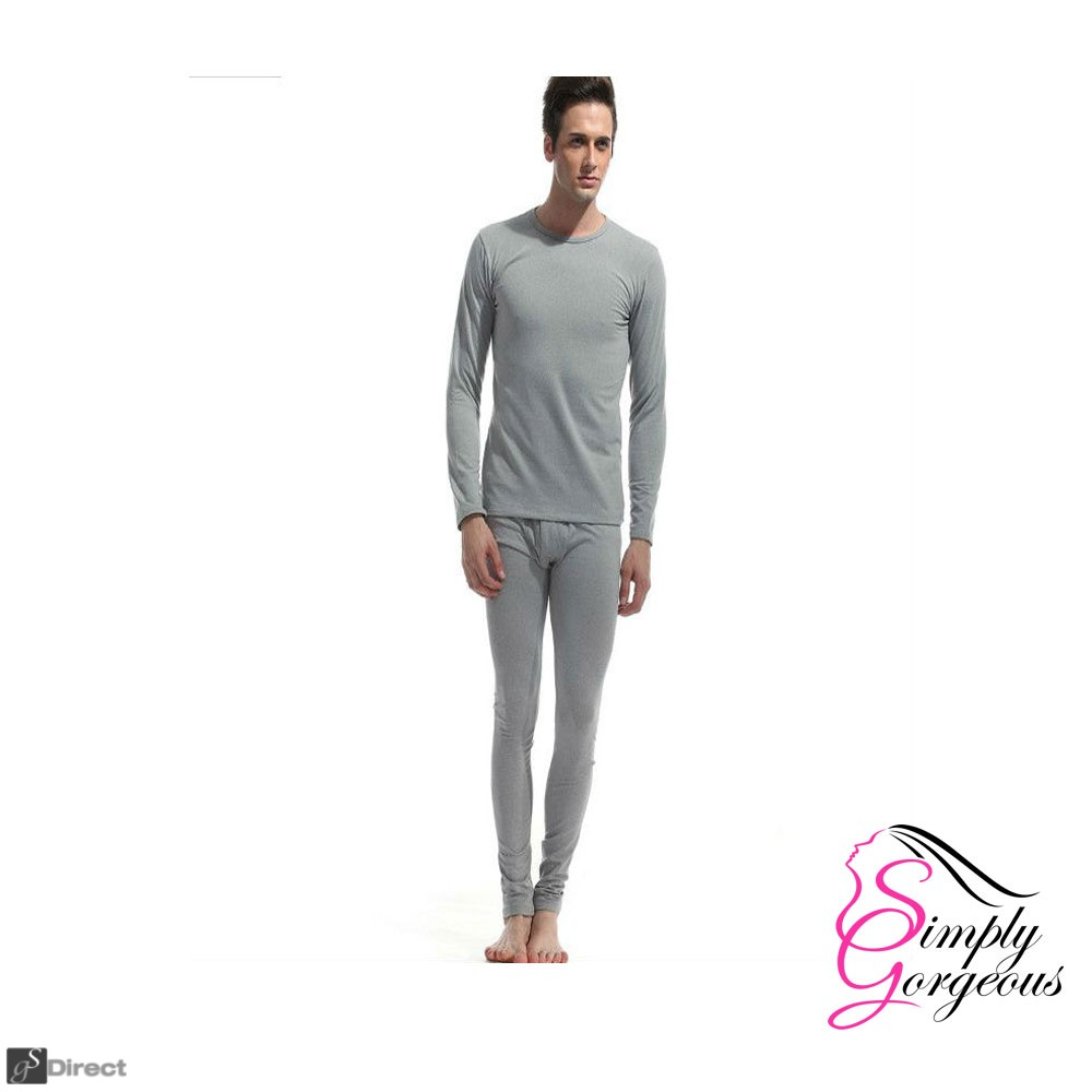 Mens 2 Piece Long Thermal Underwear Set – Light Grey - Size Large