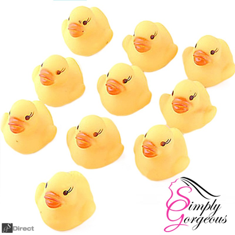 10 X Mini Yellow Bath time Squeaky Rubber Ducks