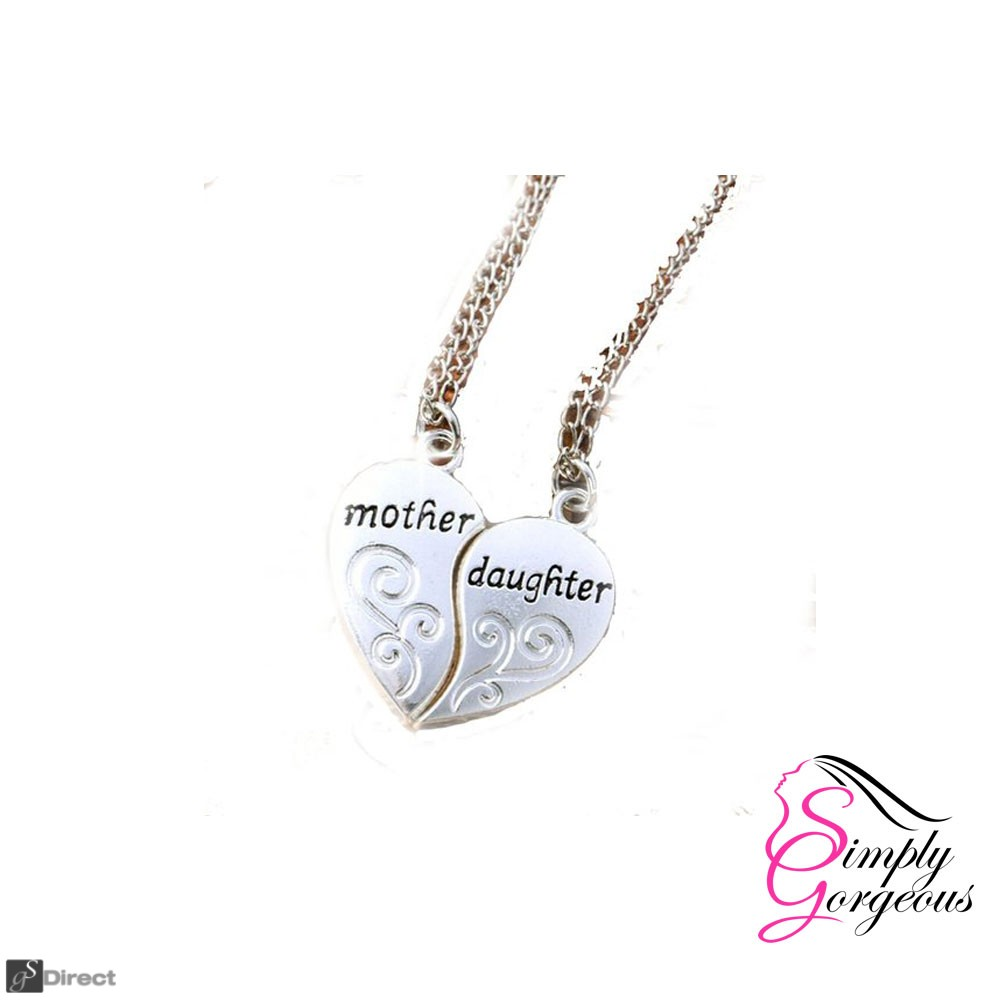 Beautiful Mother and Daughter Love Heart Pendants Necklaces