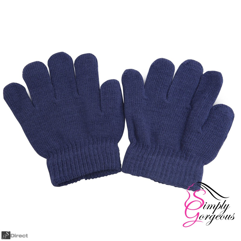 Childrens Winter Woolly Knitted Warm Magic Gloves - Navy