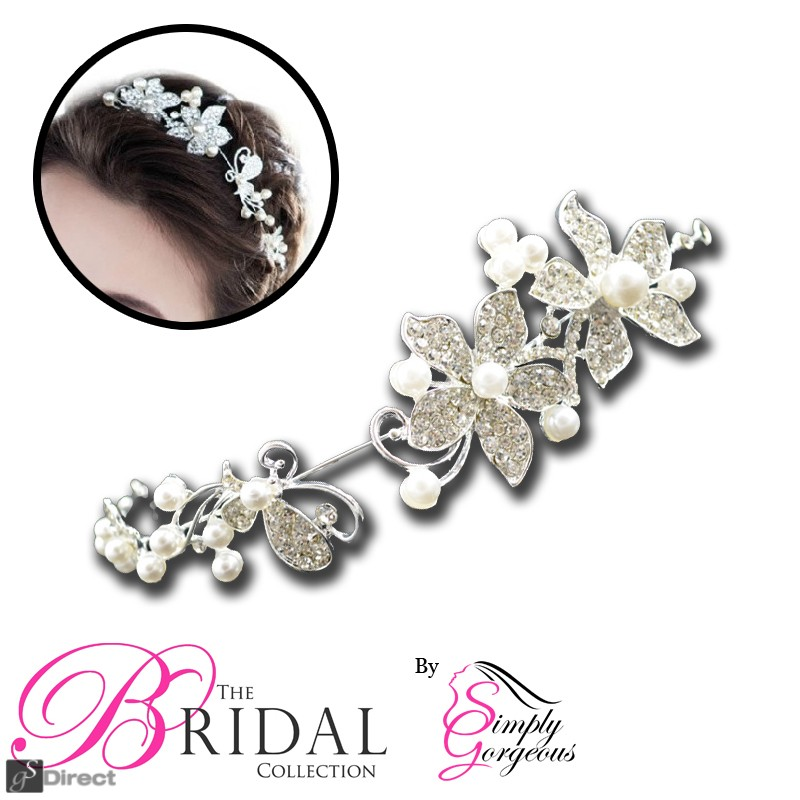 Crystal Rhinestone & Faux Pearl Flower Tiara - Clear