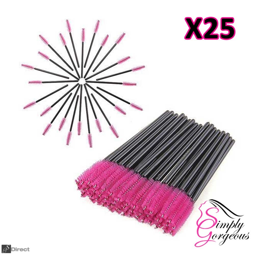 Simply Gorgeous 25 Disposable Eyelash Mini Brush Mascara Wands Applicator - Pink