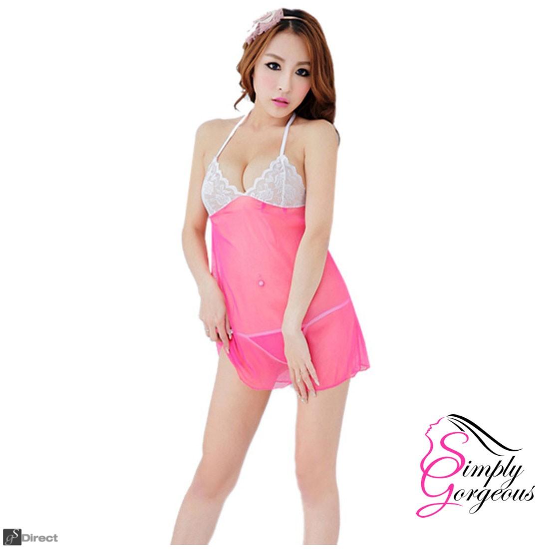Sexy Lingerie Lace Dress Underwear Babydoll Sleepwear + G-string - Pink