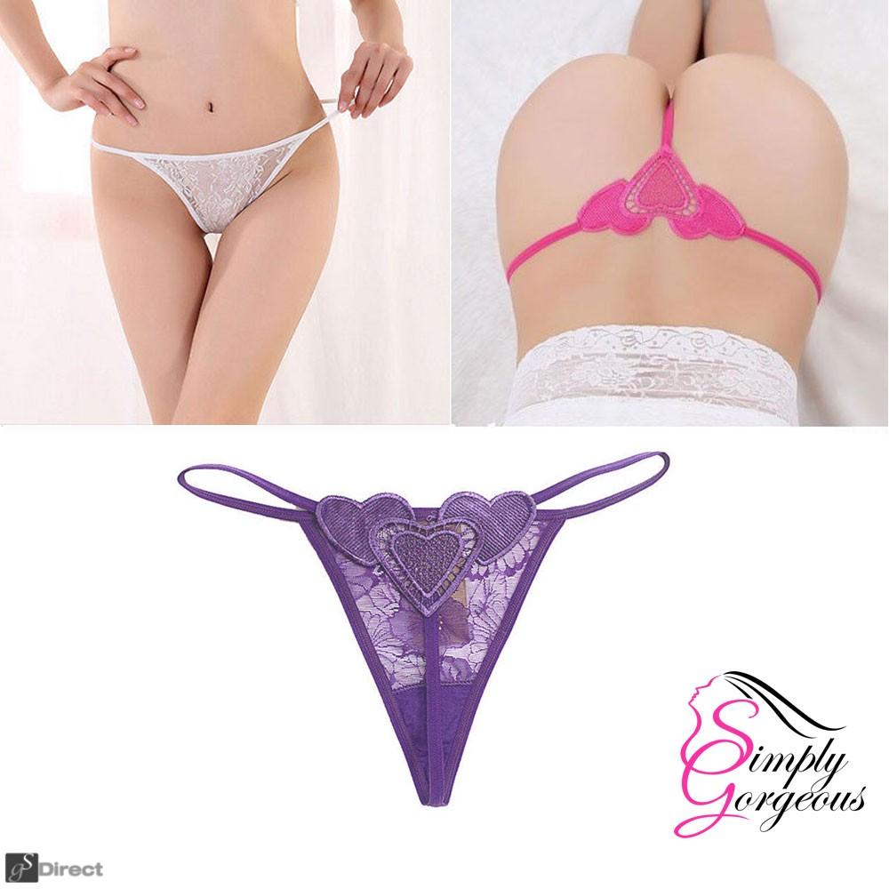 Ladies Sexy Lace G-String Thong - Purple - One Size