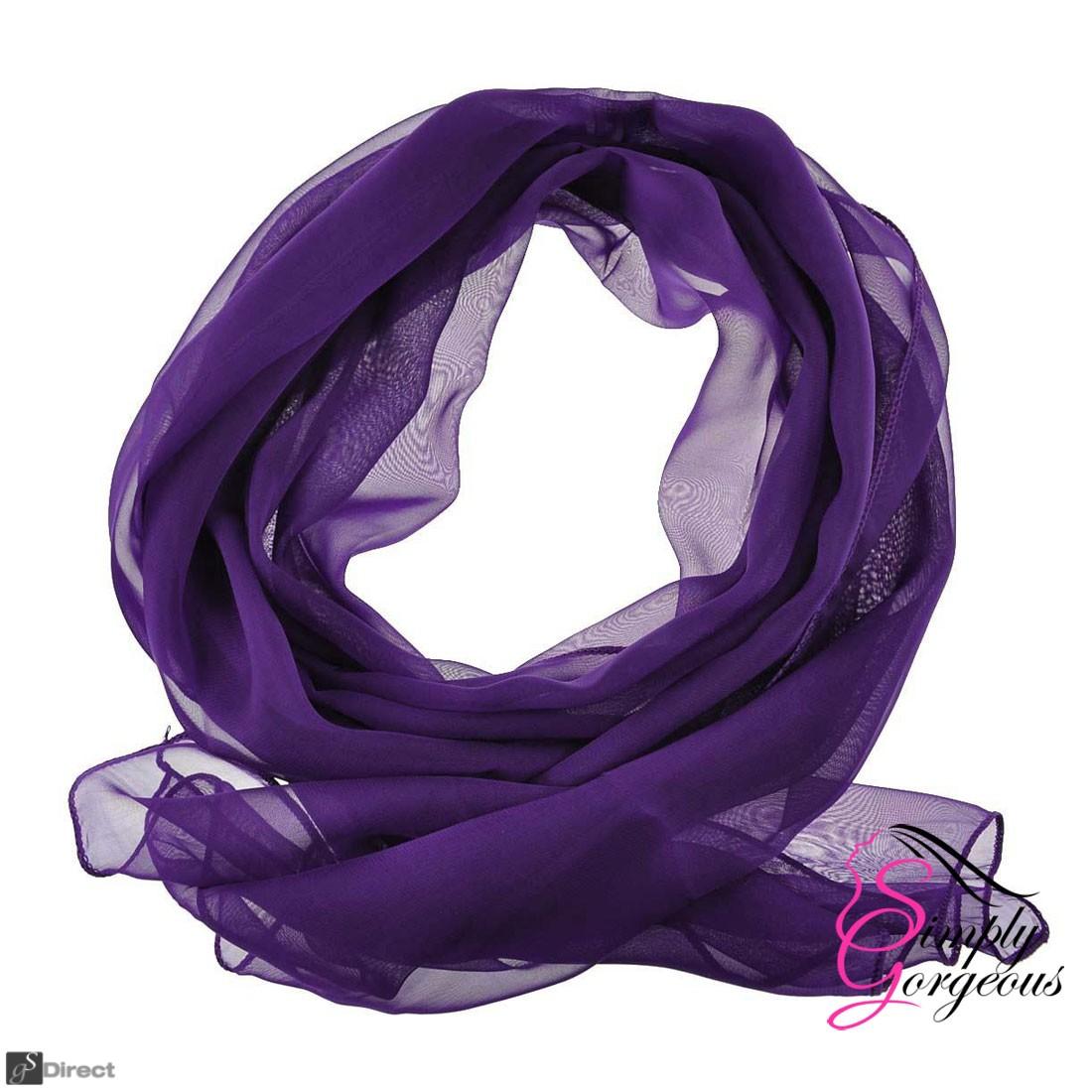 Classic Plain Chiffon Scarf Silk Feel Soft Neck lady Shawl Hijab Scarves - Purple