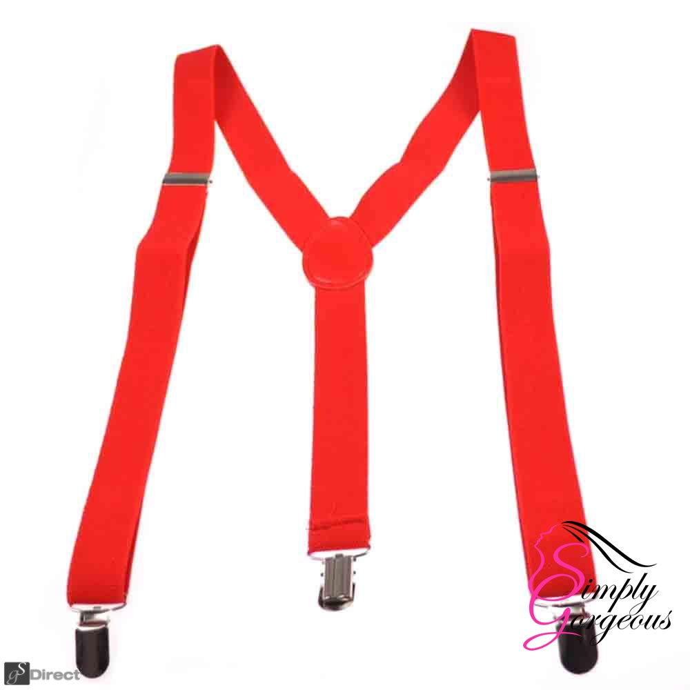 Unisex Adjustable Slim Braces - Red