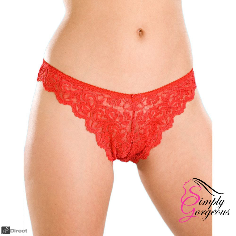 3 pack ladies red lace pants - one size