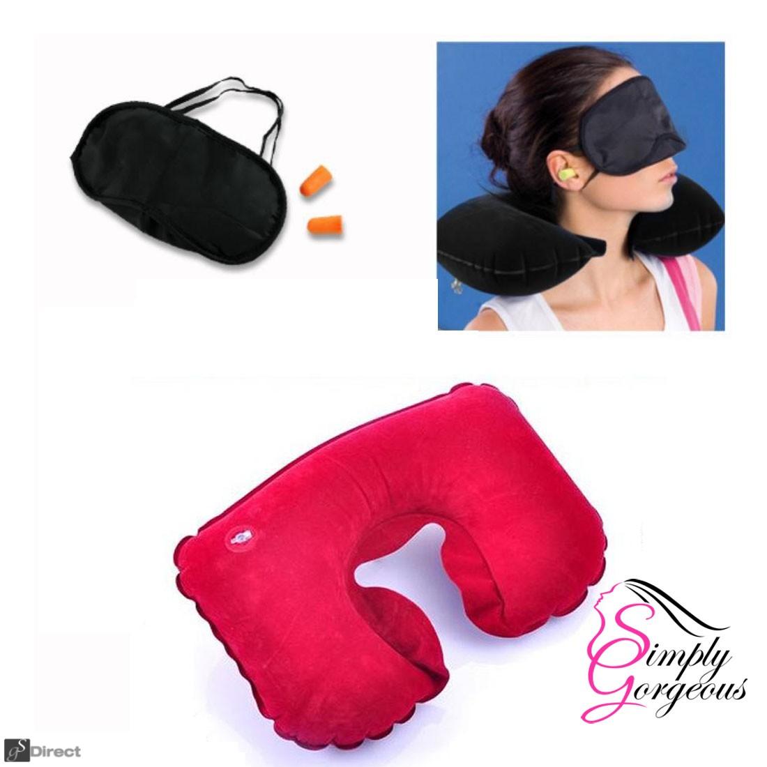 Inflatable Travel Neck Pillow Ear Plug & Sleep Mask Set - Red
