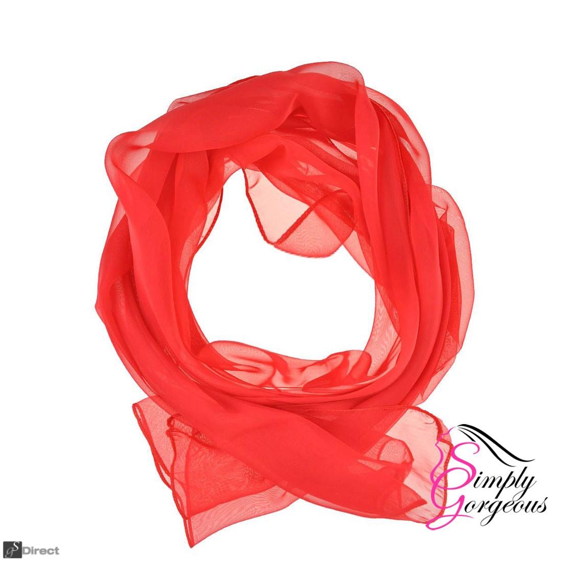 Classic Plain Chiffon Scarf Silk Feel Soft Neck lady Shawl Hijab Scarves - Red