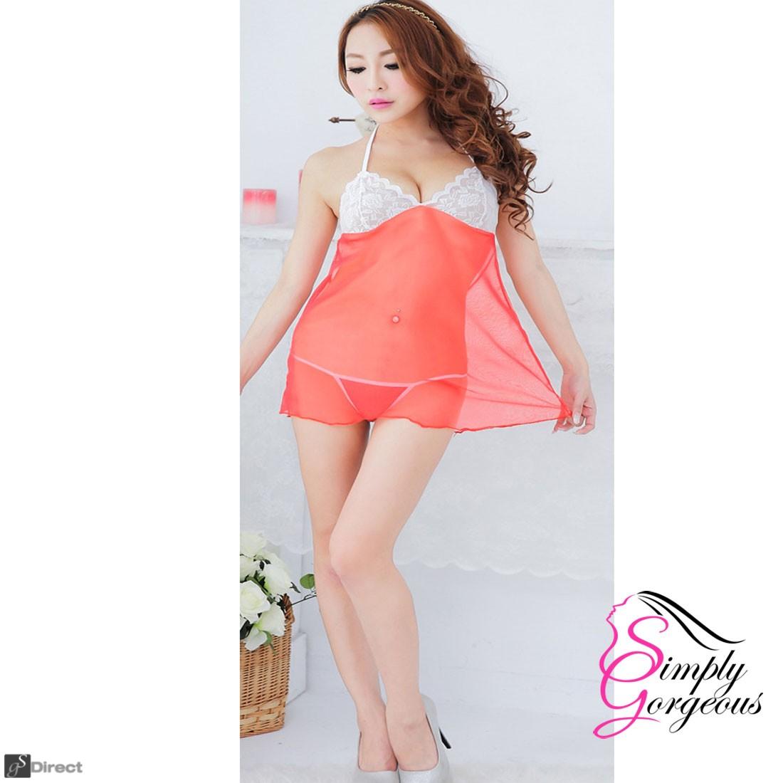 Sexy Lingerie Lace Dress Underwear Babydoll Sleepwear + G-string - Red