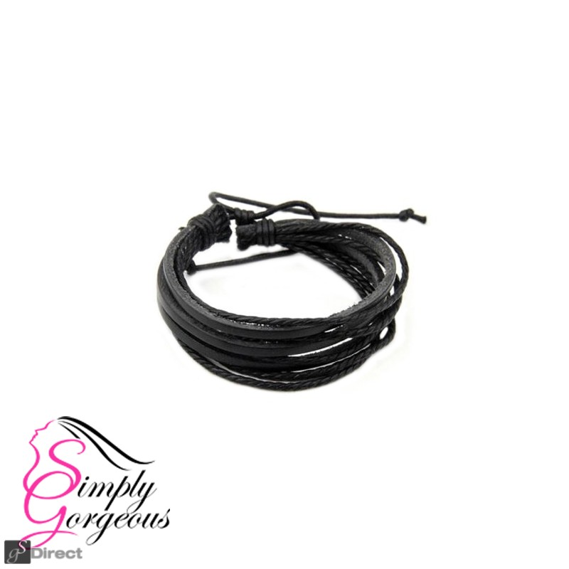 Fine hand-woven braid rope Multilayer Bracelet Unisex - Black