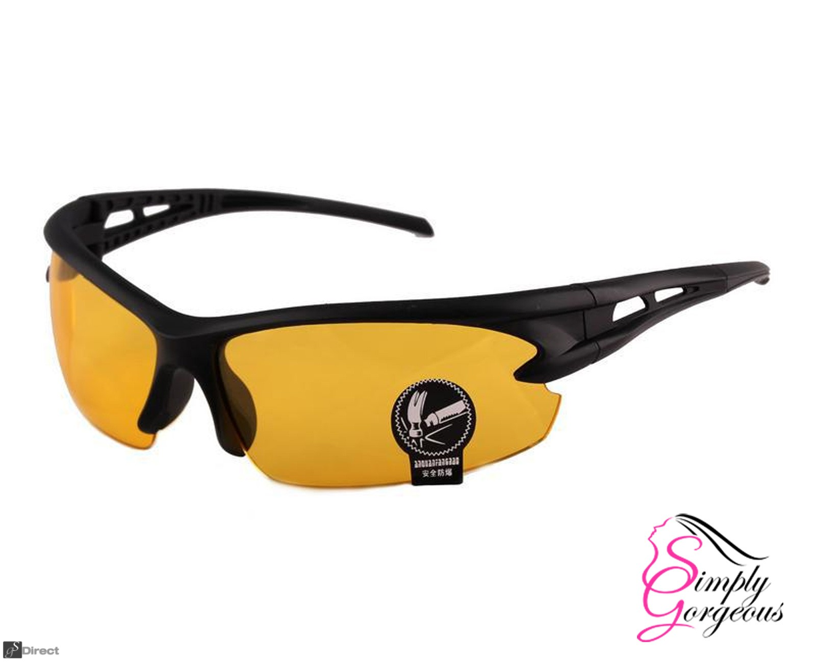 Cycling Riding Outdoor Sports UV Protective Goggles Glasses - Yellow Night Vision Lens