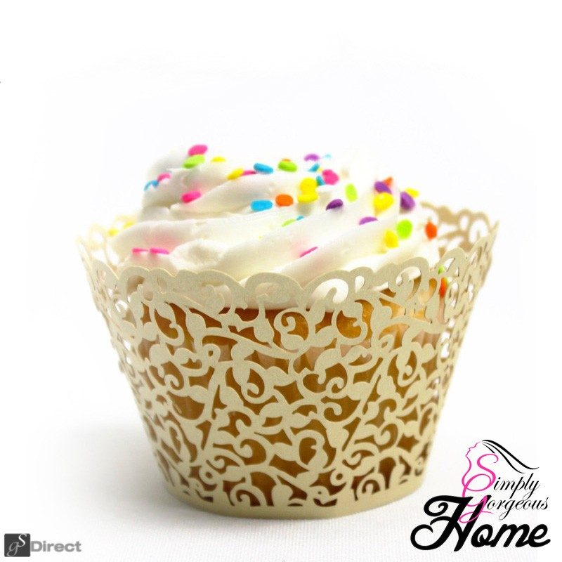 12 X Simply Gorgeous Laser Cut Vine Cupcake Wrappers - Gold