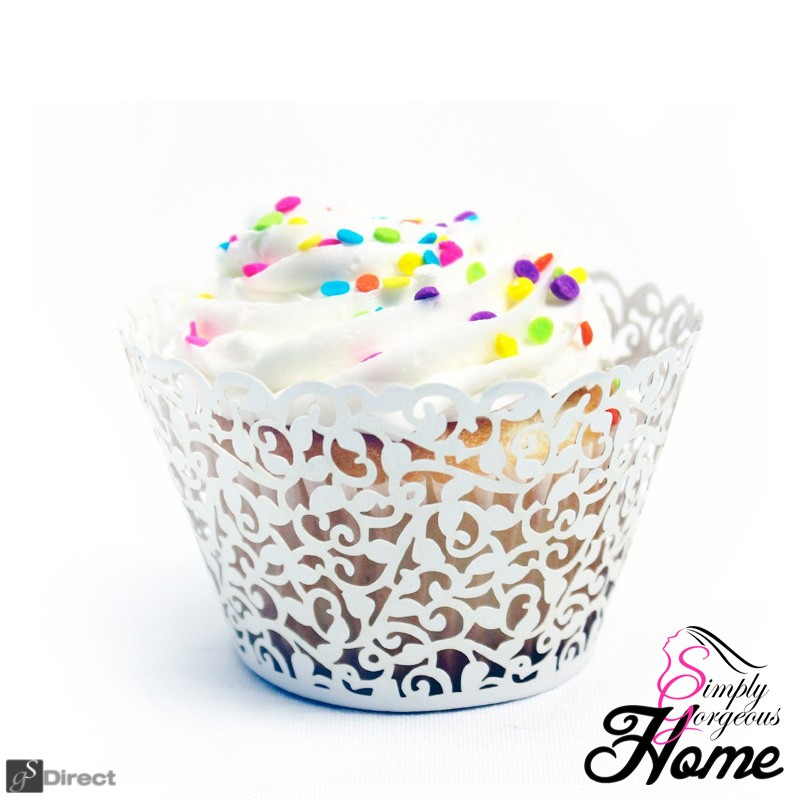 12 X Simply Gorgeous Laser Cut Vine Cupcake Wrappers - White