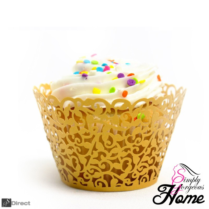 12 X Simply Gorgeous Laser Cut Vine Cupcake Wrappers - Yellow