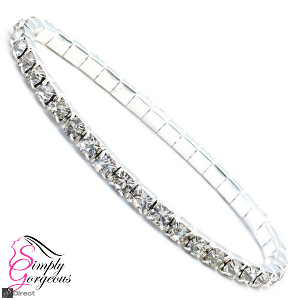 One Row Diamante Crystal Rhinestone Stretch Bracelet
