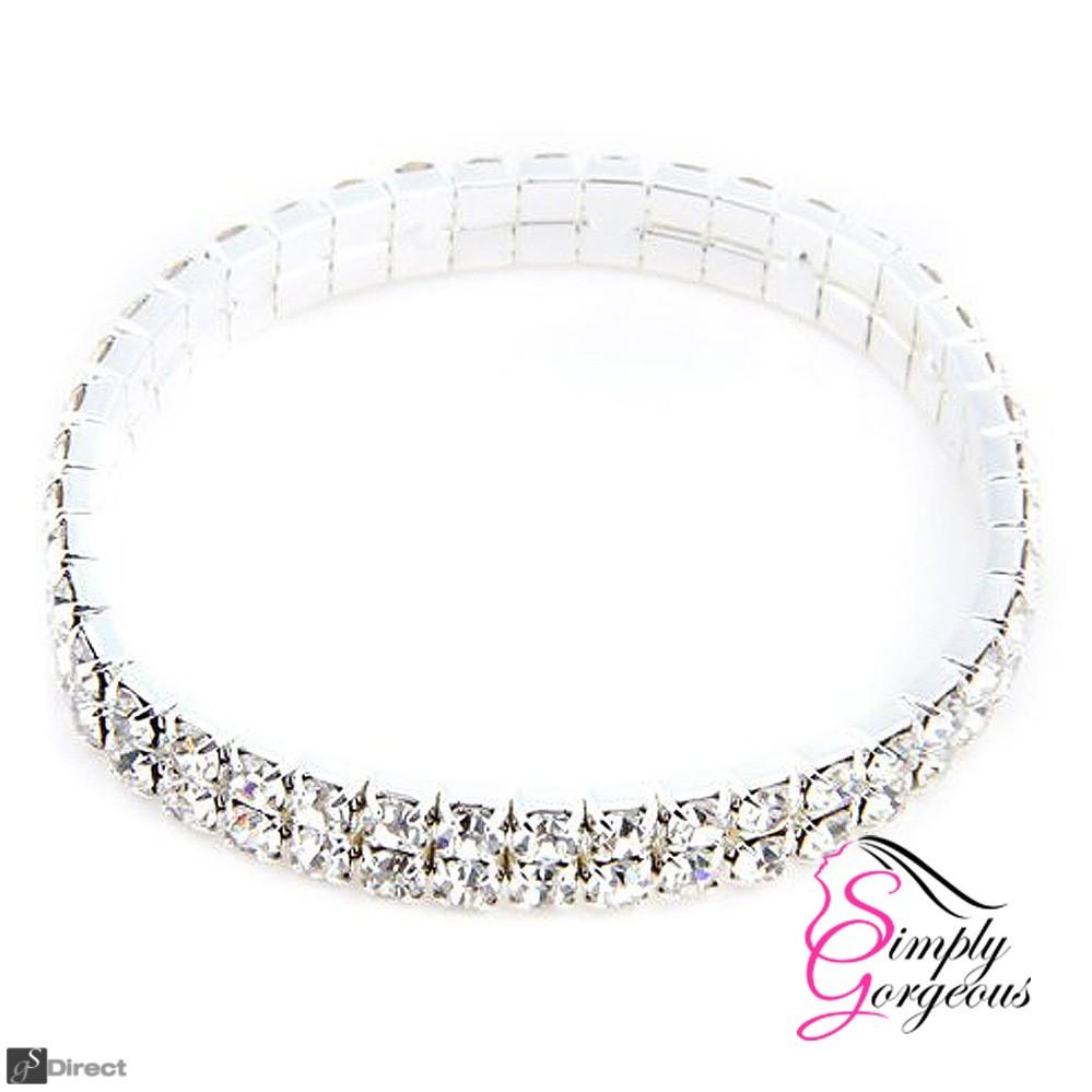 Two Row Diamante Crystal Rhinestone Stretch Bracelet