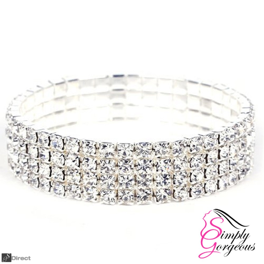 Four Row Diamante Crystal Rhinestone Stretch Bracelet