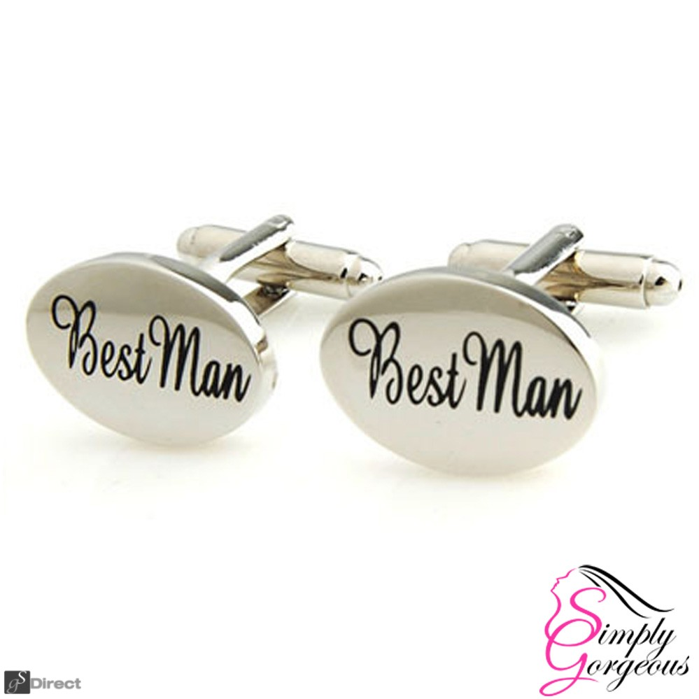 Silver Oval Mens Wedding Cufflinks - BEST MAN
