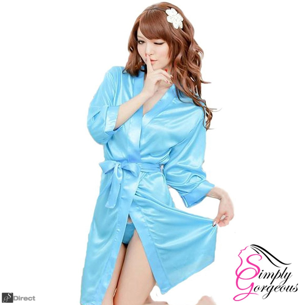Ladies Sexy Blue Silk Dressing Gown